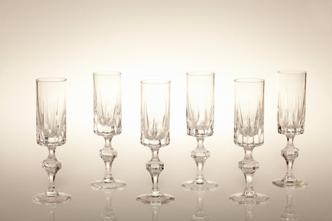 1960s Lead Crystal Sherry Flutes