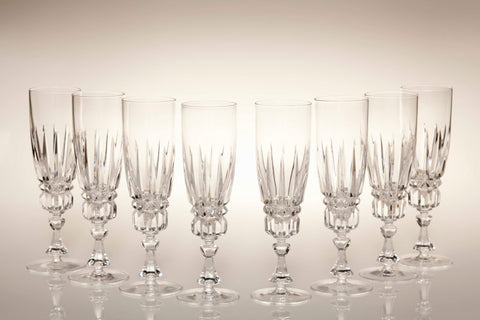 1960s Lead Crystal Champagne Flutes