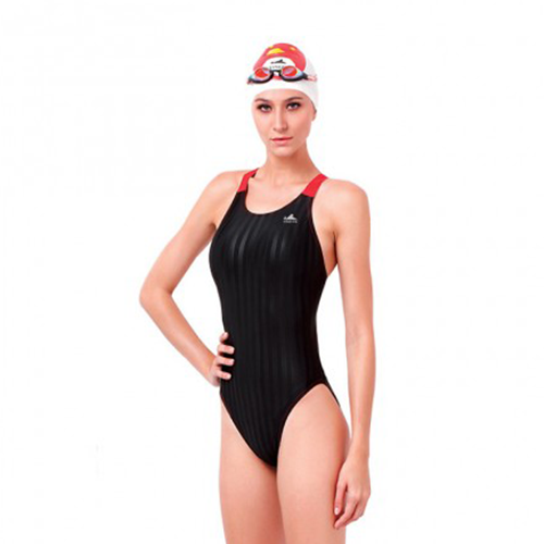 Gal's Yingfa Lightning Shark-Skin Dive-Suit - Black/Red