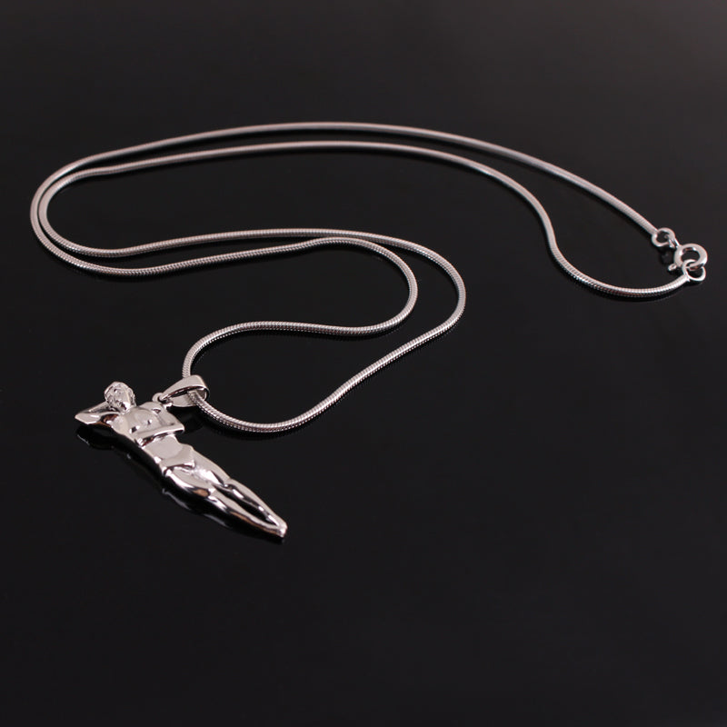 """Twist"" Male Diver Platinum-Plated Solid Sterling Silver Pendant Necklace"