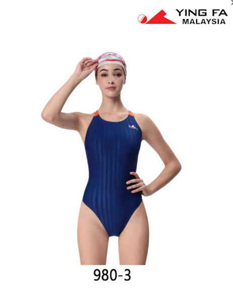 Gal's Yingfa Lightning Shark-Skin Dive-Suit - Blue/Orange