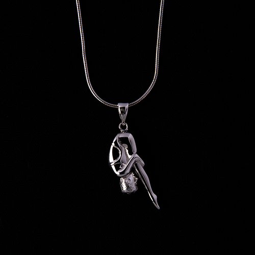 """Pike"" Female Diver Platinum-Plated Solid Sterling Silver Pendant Necklace"