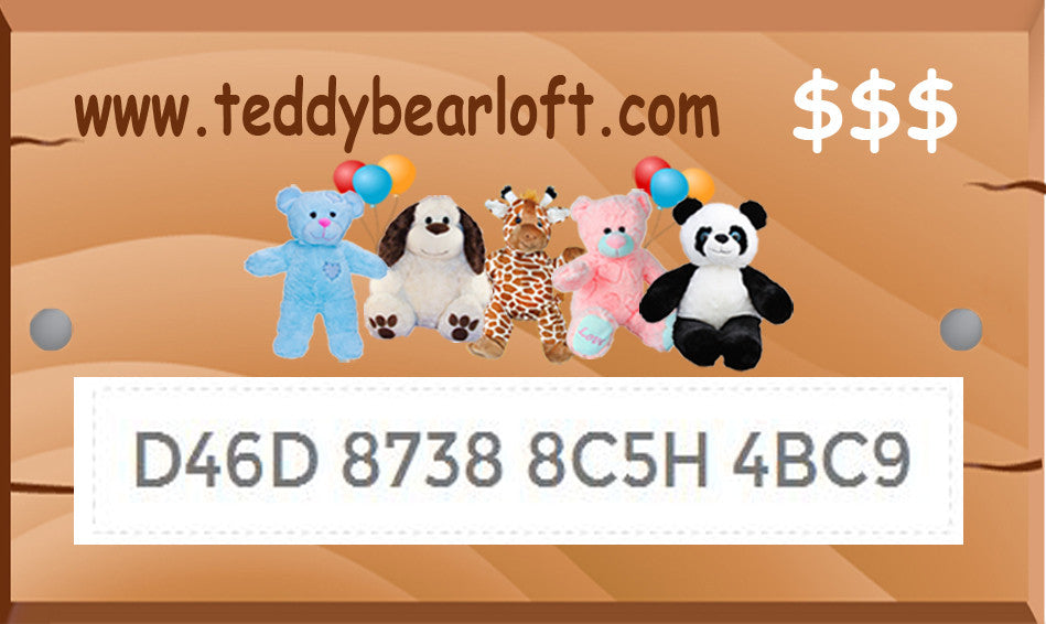Teddy Bear Loft eCartes-cadeaux / eGift Cards | Teddy Bear Loft ...
