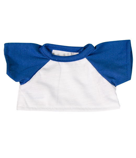 White t shirt with blue sleeves from Teddy Bear Loft