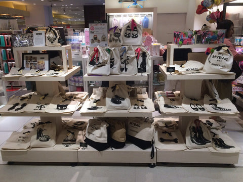 Bag-all display at Plaza Styles