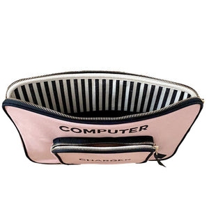 Computer case unzipped with blue and white stripes on the interior.