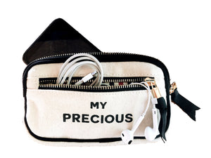 "Caprice Bag Organizer in white with ""my precious"" across the front."