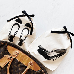 Shoe organizing bags for ballet flats and high heel pumps.