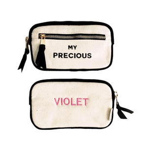 "Caprice bag labeled ""my precious"" and on the back ""violet"" is monogrammed."