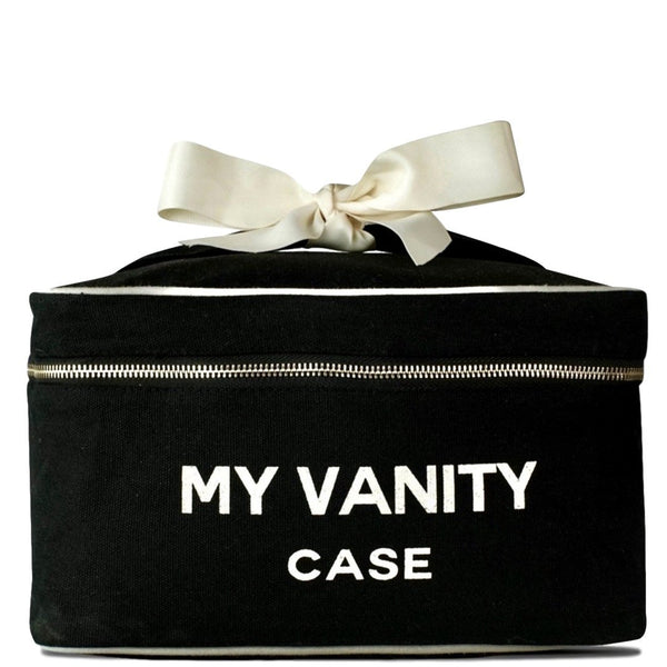 Travel makeup and vanity case in the shade black with white bow attached to the handle.