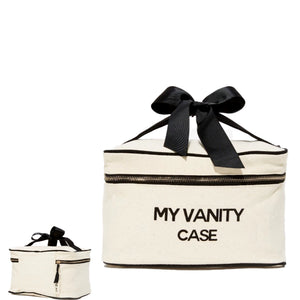 "Travel white beauty box with ""my vanity case"" printed on the front in black."