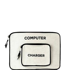 White padded computer case with an attached pocket for a charger.
