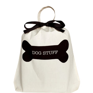 "Organizing bag for dogs labeled ""dog stuff"""