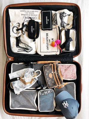 A suitcase full of packing cubes, travel organzing bags and more.