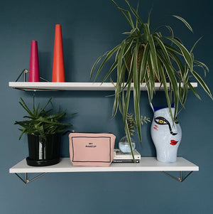 Two shelves with plants and candles and a makeup bag in pink.