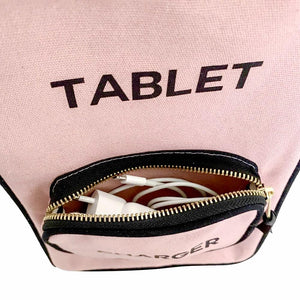 A tablet case with an attached pocket for a charger allowing you to place your charger inside.
