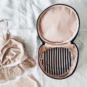 Round Lingerie Case Pink inside view, pj set top