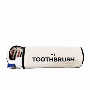 Toothbrush case with a toohtbrush and a toothpaste.