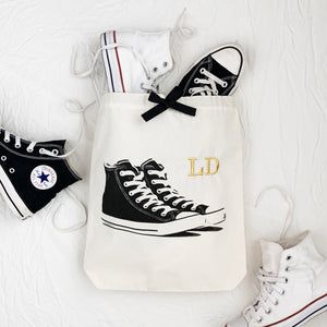 "Sneakers Shoe Bag ""LD"" monogrammed on front, white and black converse"