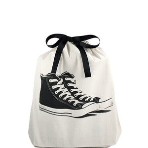 Sneakers Shoe Bag, 3./4 view sneakers printed on front, black ribbon