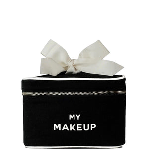 "Black makeup box with ""my makeup"" printed across the front and a bow on top."