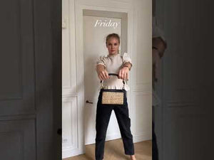 Gif of the rattan bag and outfits for each day.