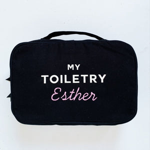 "My toiletry case with ""Esther"" monogrammed on the front."