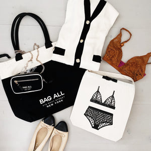 Bag all tote bag, mini organizing purse and a london lingerie bag.