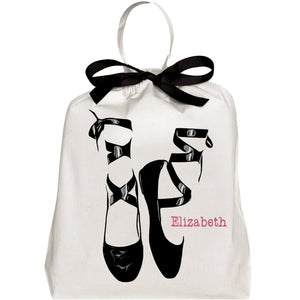 "Pointe Ballerina Shoe Bag with ""Elizabeth"" monogrammed on the front."