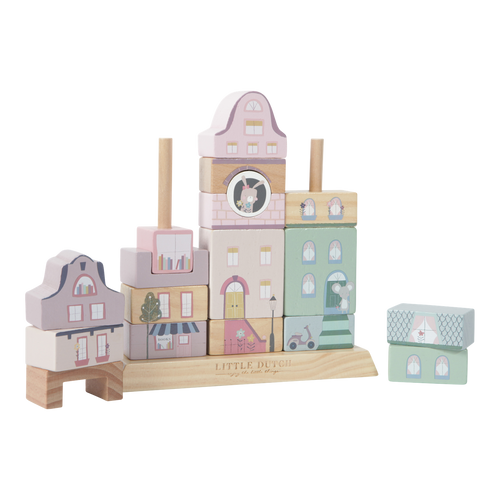 Charming Town Stacking Blocks - Pink - Little Dutch