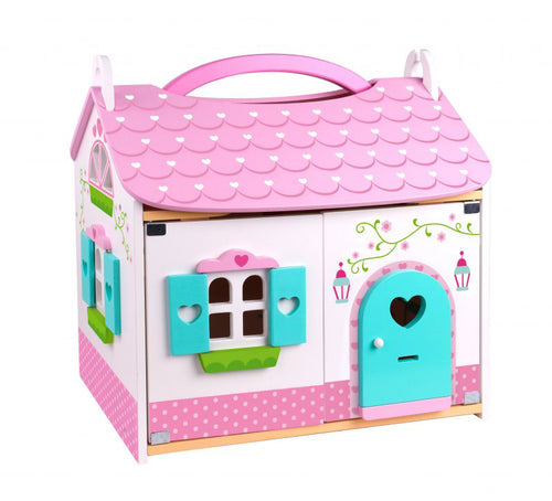 Wooden Doll Cottage - Furniture Included - Tooky Toy