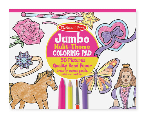 Jumbo 50-Page Kids' Colouring Pad - Horses, Hearts, Flowers, and More - Melissa & Doug