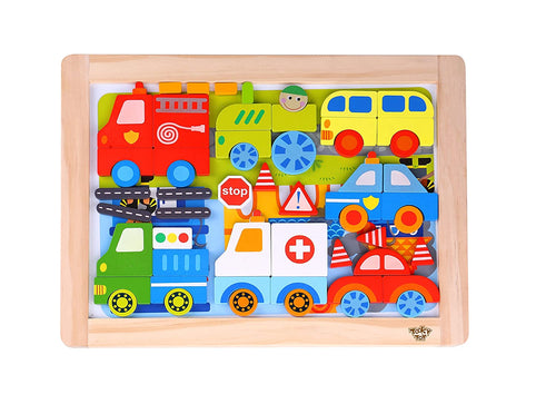 Magnetic Wooden Vehicle Puzzle - Tooky Toy