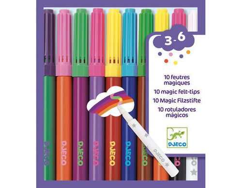 10 Magic Felt Tip Pens - Djeco