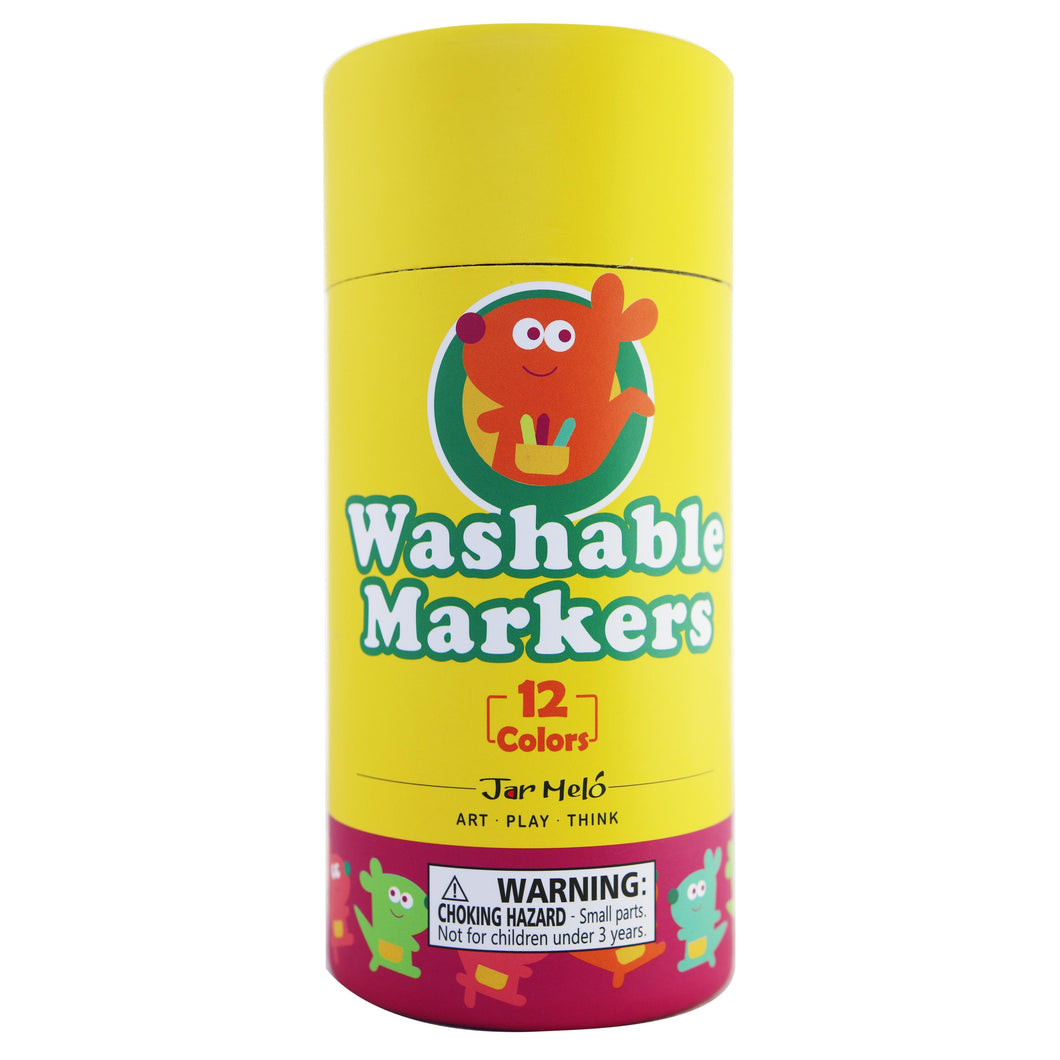 Washable Markers - 12 Colours - Jar Melo