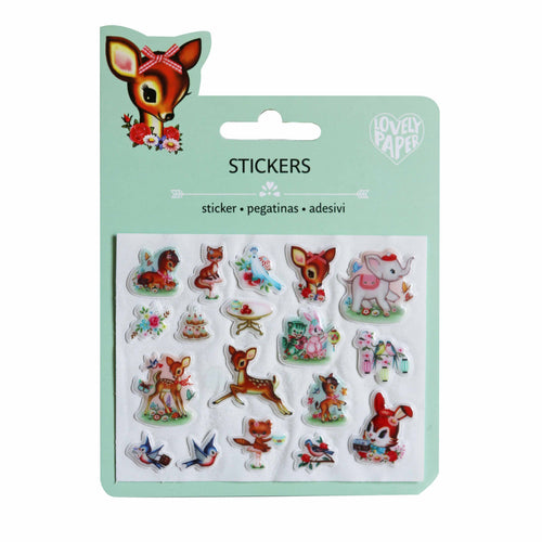 Vintage Animal Mini Stickers (puffy) - Djeco