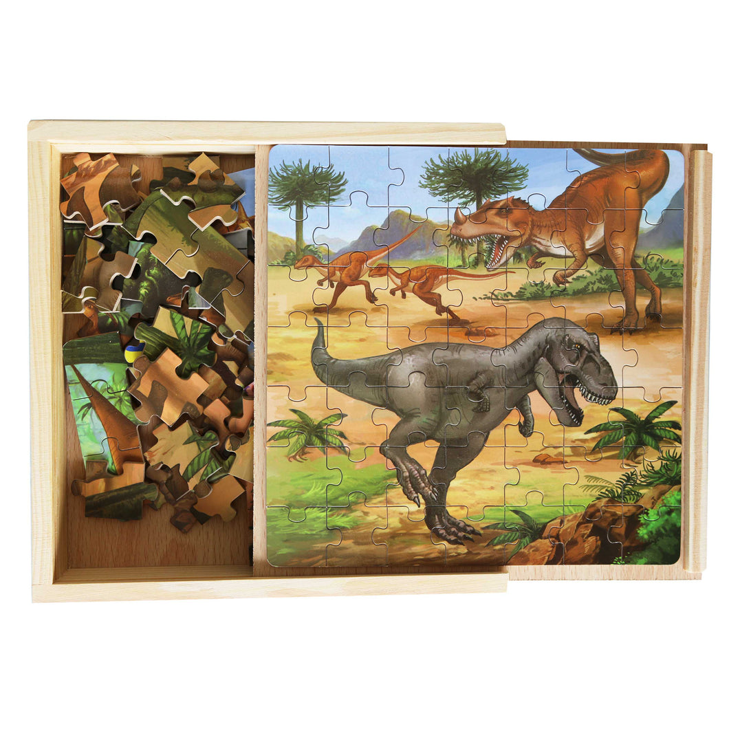 Wooden Puzzle Box - 3 Puzzles - Dinosaurs
