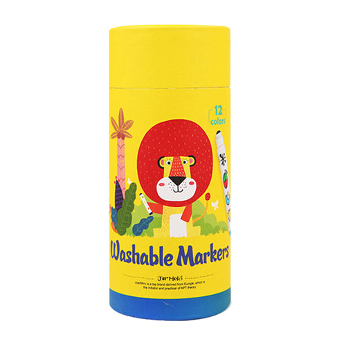 Round Tip Washable Markers - 12 Colours - Jar Melo