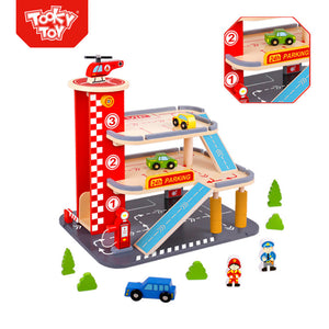 Deluxe Wooden Parking Garage - Tooky Toy