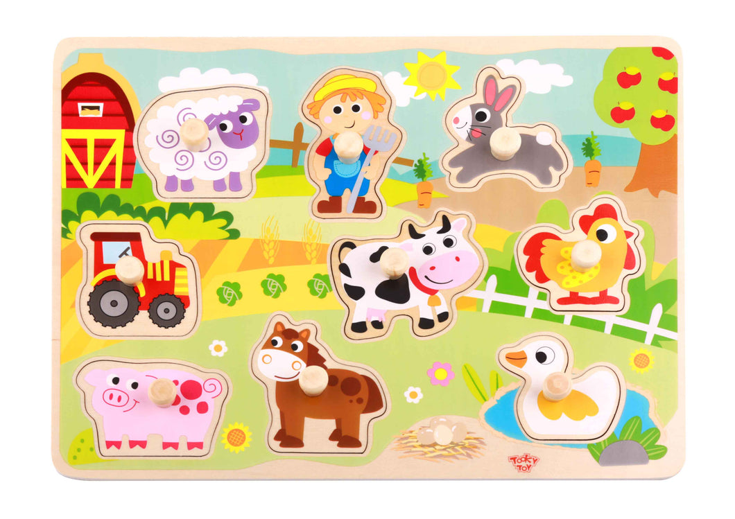 Farm Peg Puzzle - Tooky Toy
