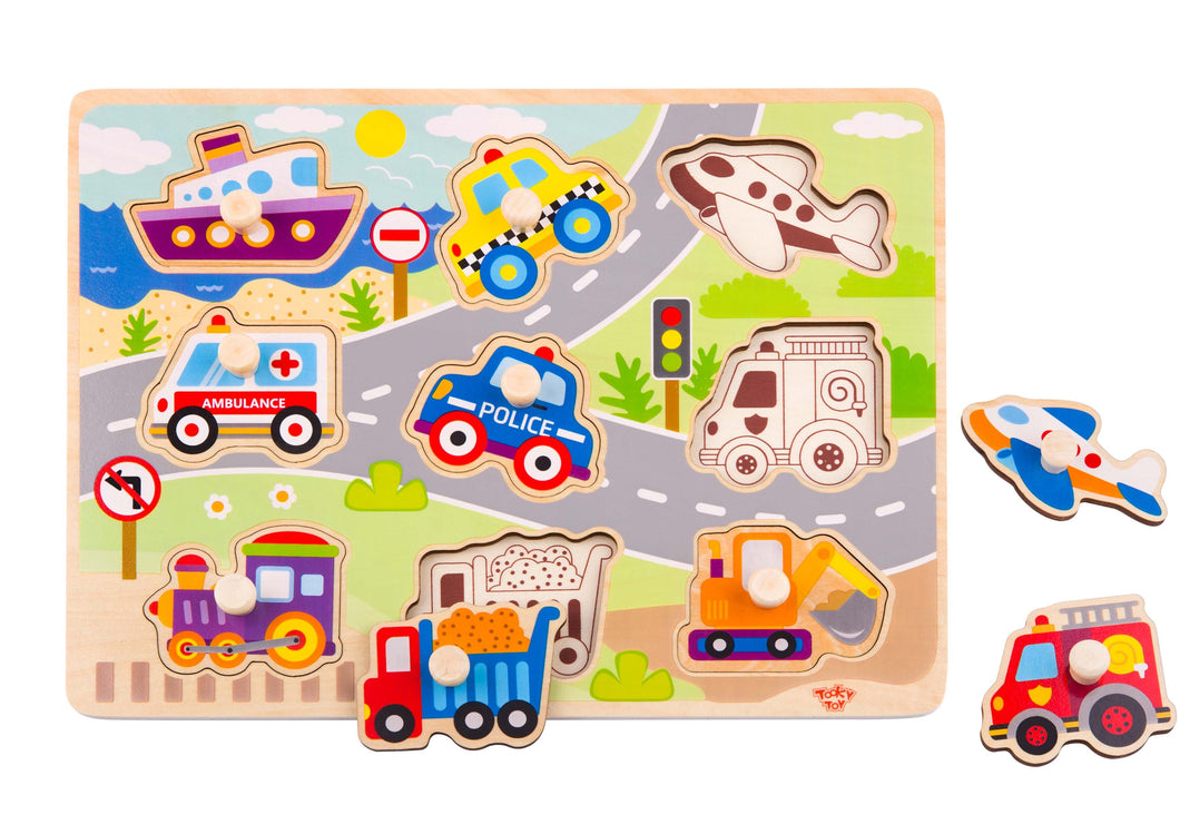 Vehicle Peg Puzzle - Tooky Toy