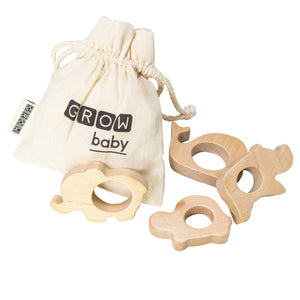 Natural Teether Set - Animals (4 assorted)