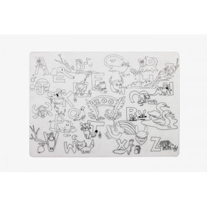 Reusable Silicone Colouring Placemat - Alphabet Animals - Mombella