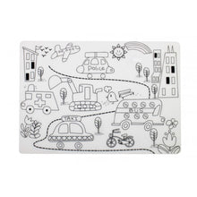 Load image into Gallery viewer, Reusable Silicone Colouring Placemat - Street Scene - Mombella