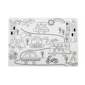 Reusable Silicone Colouring Placemat - Street Scene - Mombella