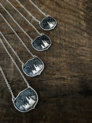Family Tree Forest Necklace with Custom Initials