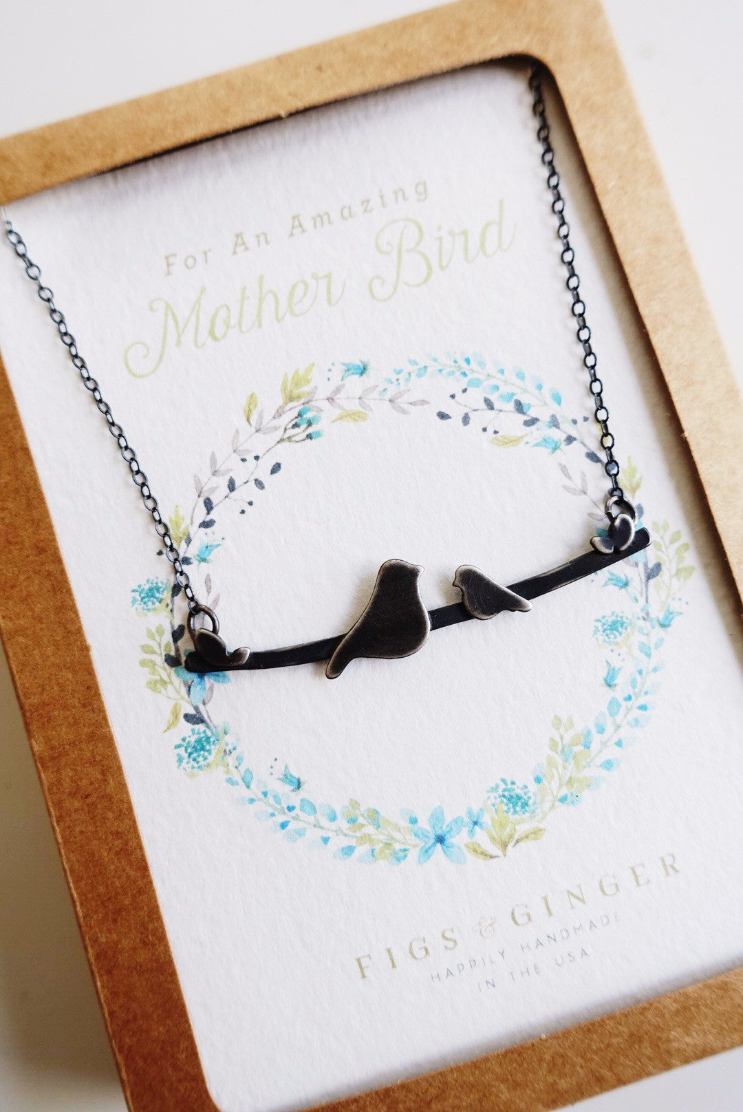 Bird on a Branch Mother's Necklace: Momma & 1 baby