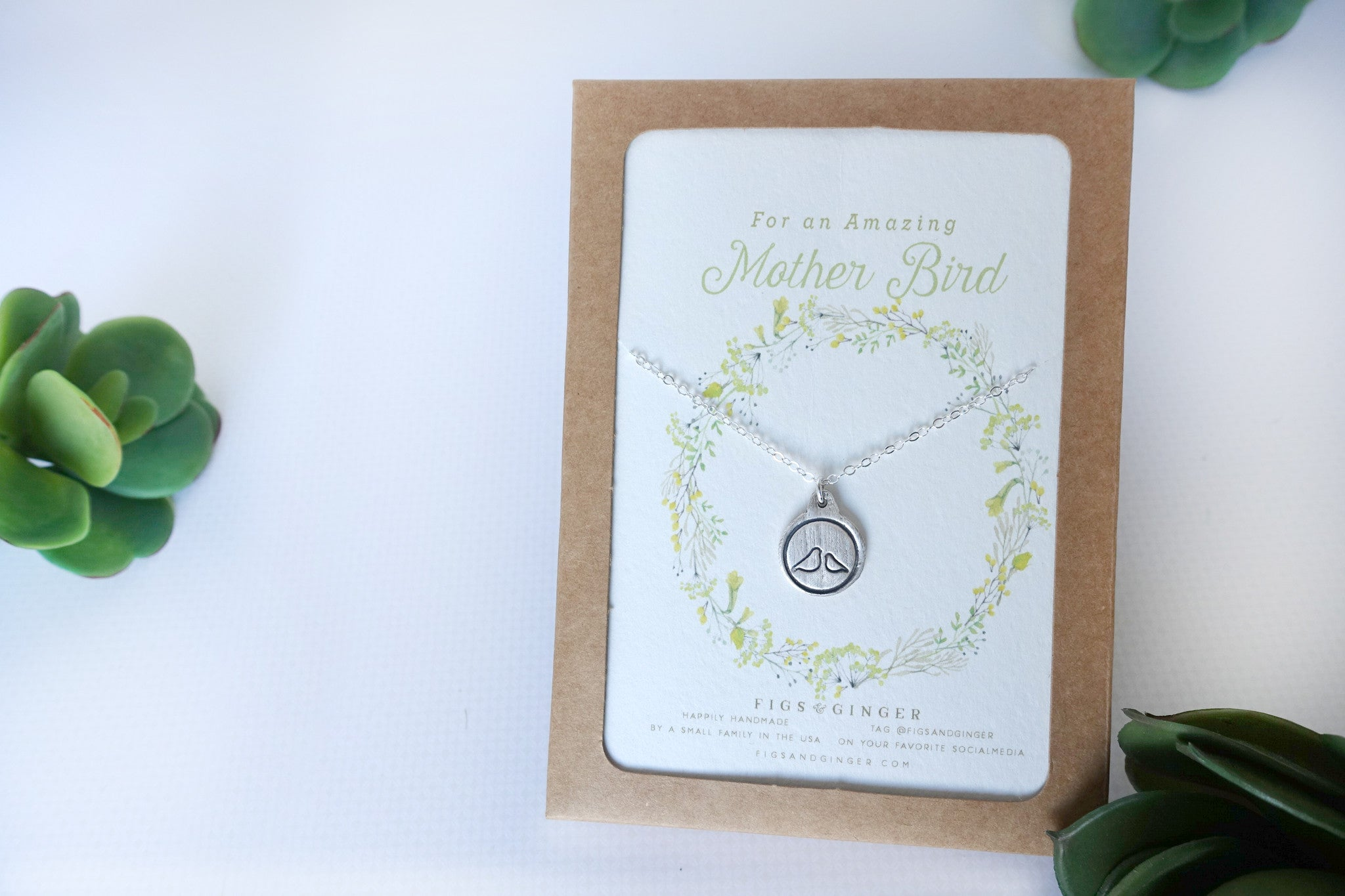 Mother Bird & Baby Bird Charm Necklace