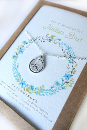 Mother Bird & 2 Baby Birds Charm Necklace