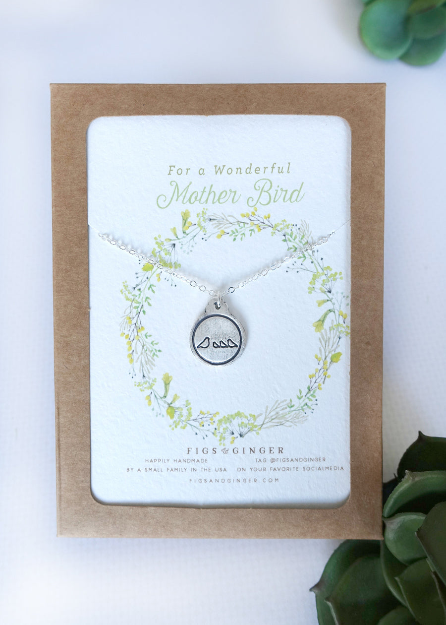 Mother Bird & 3 Baby Birds Charm Necklace